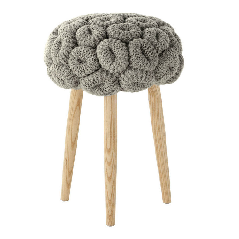 KNITTED STOOL GRIS