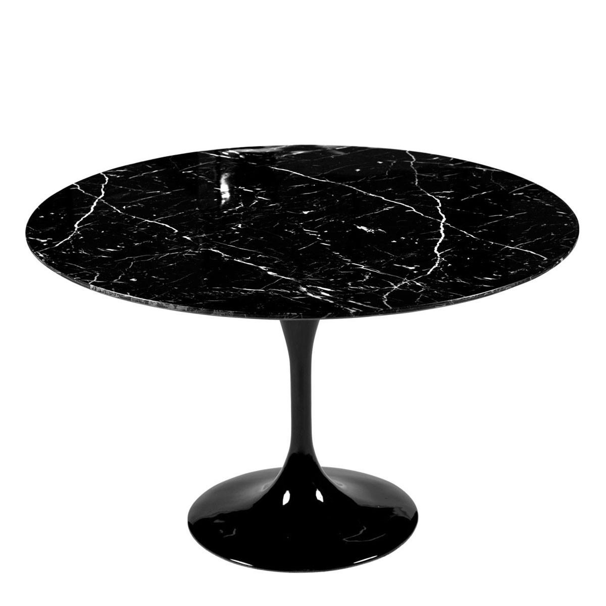 mesa redonda marmol negra con sillas